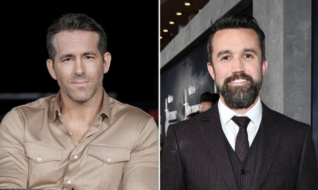 Ryan Reynolds, left, and Rob McElhenney spoke with members of the Wrexham Supporters' Trust